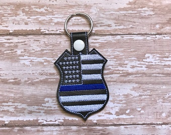 Thin Blue Line Keychain, Police Support Key chain, Badge Keychain, Stars and Stripes Blue Line, Custom Keychain---You choose 70 Colors