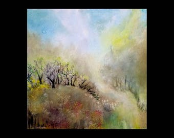 """Tranquility Hill - Square Acrylic painting 30""""x30"""" Free Shipping!"""