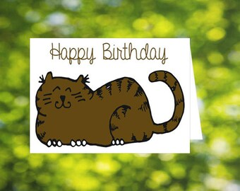 Large brown cat birthday card, Happy Birthday, cat lover card