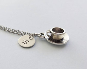 Cup and Saucer Necklace, Tea Cup, Coffee Cup, Drink, Friend Birthday Gift, Silver Jewelry Personalized, Monogram Hand Stamped Letter Initial
