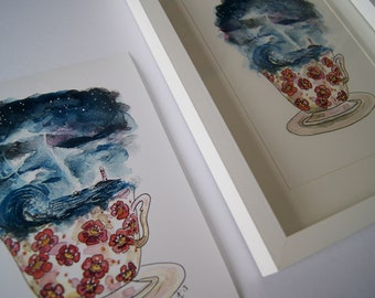 Storm in a teacup A5 high colour print , to frame from original watercolour and ink illustration