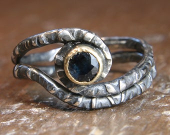 Eco Gothic recycled sapphire silver and gold wedding ring set. Hand made in the UK