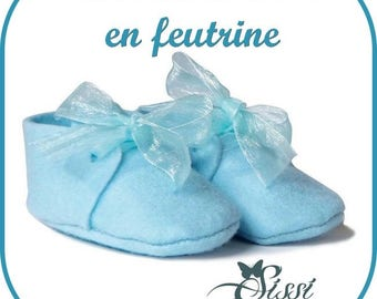 BABY BLUE FELT BABY SHOE HAS OFFER DECORATING CHRISTENING FAVORS