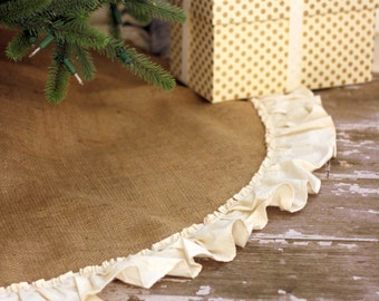 Natural Burlap Christmas Tree Skirt with Hemmed Ruffle - Fully Lined