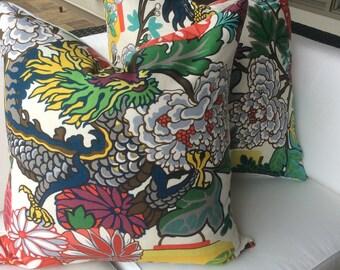 Schumacher Pillow Cover in Chiang Mai Dragon Alabaster  Linen, A Pair
