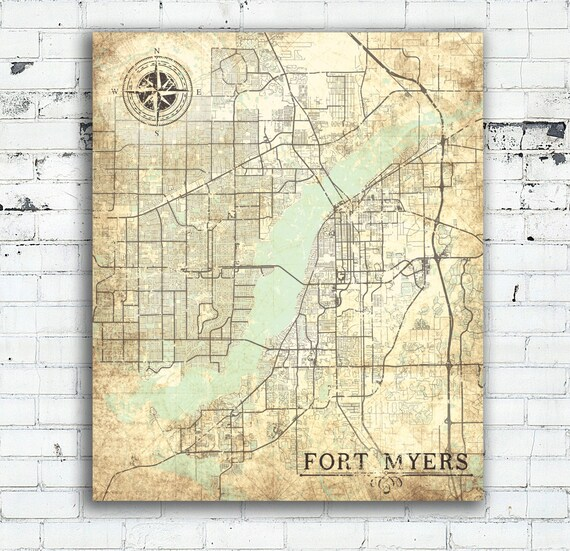 FORT MYERS FL Canvas Print Florida Vintage map Fort Myers