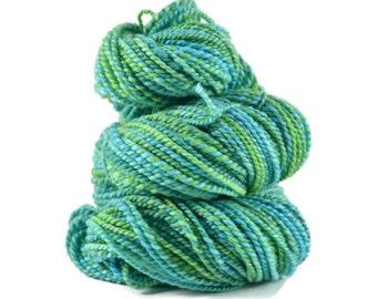 Handspun Yarn, Handpainted BFL, Blue Faced Leicester wool, 2 ply Aran weight, 172 yards, handspun bfl, handspun wool yarn, green - Jungle