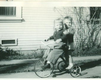 1950s Tricycle Ride Little Girl Pedal Boy Riding on Back 50s Vintage Photograph Black White Photo