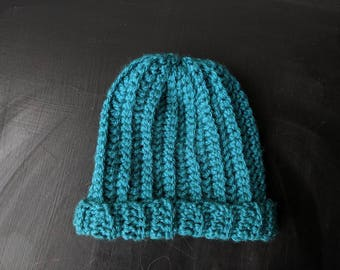 Teal baby beanie, handmade crochet, to fit 6-12 months | teal beanie, newborn beanie, baby beanie, beanie with cuff