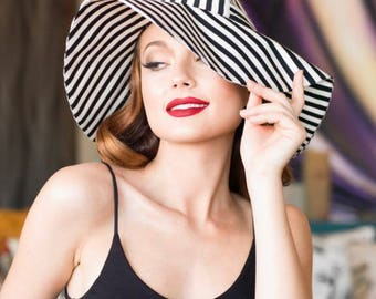 Sun Hat,  Black & White Striped hat, Wide Brim Hat, Floppy Hat, Black Sun Hat, Striped Sun Hat, Boho Hat, Travel Hat, Sale Sun Hat