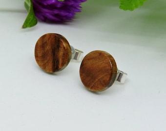 Wooden Earrings,Thuya Burl Wood Studs,Wood,Studs Earrings, 925 Silver Studs