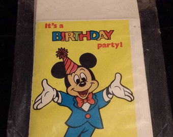 Vintage Walt Disney's Micky Mouse Birthday Invitations, Set of 8 Cards & Envelopes - NEW and Unopened