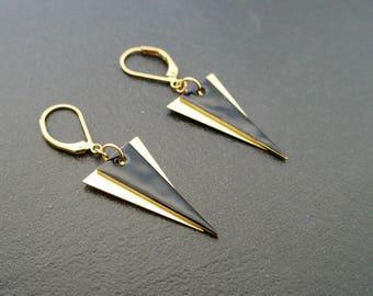 Black triangle - enameled - jewel earrings enamel earrings