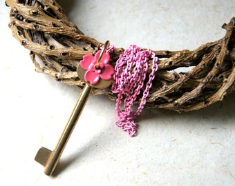 Vintage Brass Skeleton Key Necklace with Pink Enameled Flower and Chain