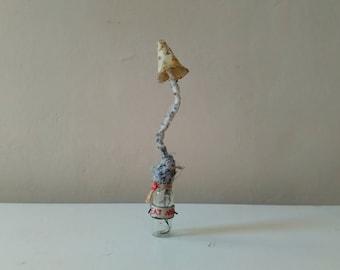 textile toadstool curiosity cabinet art fabric sculpture mushrooms for your collection wonderland eat me OOAK fungus