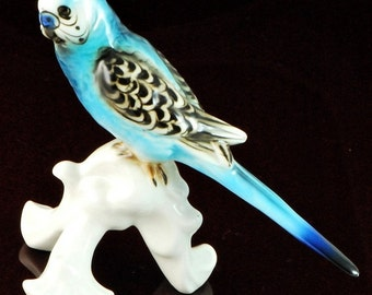 Vintage Porcelain Blue Parakeet Parrot Bird on Limb Signed Austria