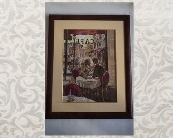 Picture «Paris Cafe», hand-made cross-stitch