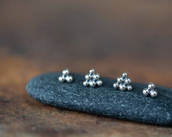 Triangle Stud Earring Set, Sterling Silver Stud Earrings, tiny silver dot triangle for double piercing, geometric everyday earrings