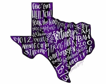 DIGITAL Texas Christian University TCU Horned Frogs Typography Printable Wall Art, Give 'Em Hell, Go Frogs, Fort Worth