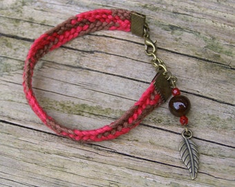 Agate bracelet, Gemstone ethnic jewelry, Woven ethnic feather charm, Native american indian style, Brown gem stone, Boho red fiber jewelry