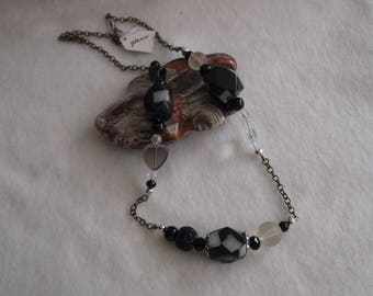 Black & White Glass Bead Necklace