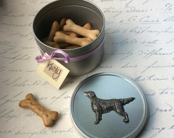 Flat Coated retriever treat tin with biscuits Gifts for dog lovers Gift for Flattie owner Gifts for men gun dog owner gifts for Flatties dog