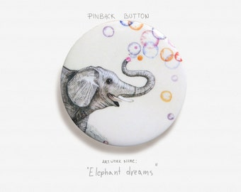 "Elephant Dreams - Pinback Button Badge - 2.25"" (5.5cm)"