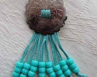 Western Necklace, Hand Made With Concho, Turquoise Beads, Blue/Silver Cord