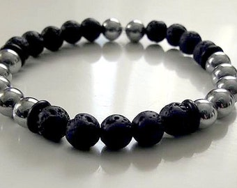 Lava stones and hematite bracelet / men bracelet