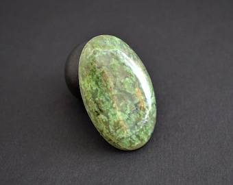 Green Listvenite natural stone cabochon  37 x 22 x 5,5 mm