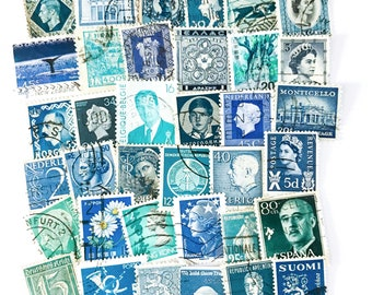 36 x blue, used postage stamps from 25 different countries, all off paper for collage, stamp collecting, crafting and scrapbooking