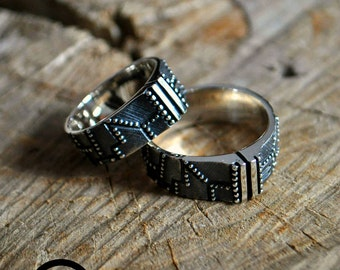 "Silver Steampunk Industrial Wedding Rings ""Repeterendum"" 