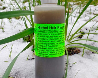 Organic Herbal Hair Rinse- Vegan, Raw- Shampoo and/or Conditioner replacement, free of harsh soap and detergents, pH Balancing.