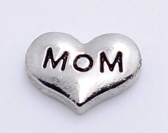 Mom Heart Floating Charm for Glass Memory Locket FC28 - 1 Charm