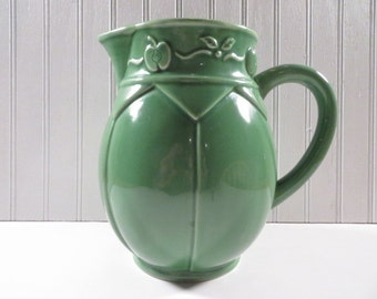 Large Water Pitcher Dark Celadon Green With Apple Motif