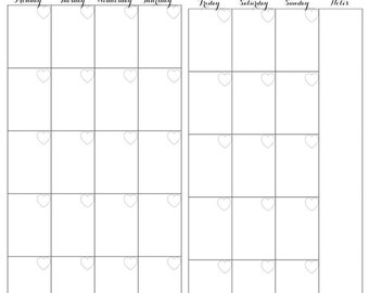 Month on Two Pages Personal Size Planner Printable Insert - Girly Theme