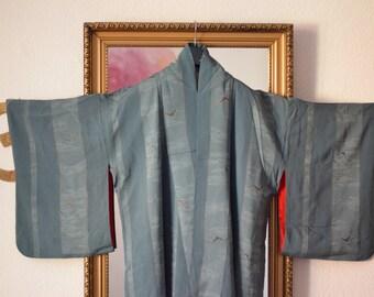 Seagull-vintage Kimono from Kyoto, Japan