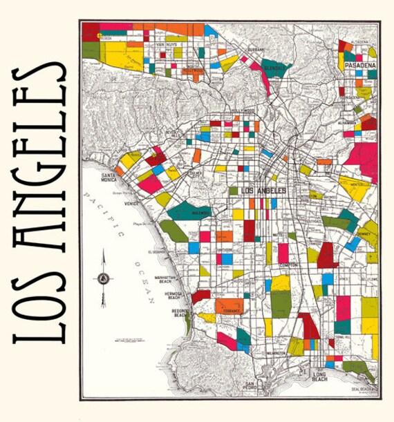 Los Angeles Shower curtain Street map of LA fabric curtain