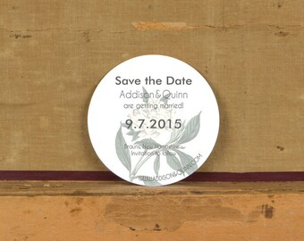 Modern Botanical Save the Date Sample,Rustic Modern Wedding Invitation, Floral Save the Dates, White floral Save the Dates, Round Invitation