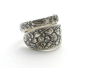 Spoon Ring Narcissus 1935 Daffodil December Birthday Gift Size 7 8 9 10 11 12 13 14 Flower Silver Flatware Jewelry Silverware Vintage