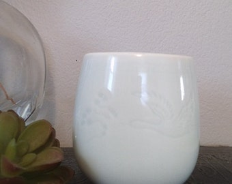 Vintage Asian Celadon Cup ~ Celedon Vessel With Crane ~ Ring dish ~ Drinking vessel