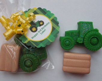 10 TRACTOR & HAY BALE Soap Favors {With Tags / Ribbons} - Barnyard Birthday, Farm Birthday, Tractor Party, Down On The Farm Party, Farm Baby