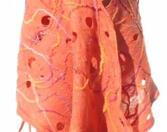 Coral Red Felted Shawl, Cobweb Felt Scarf, Red Wool Shawl, Unique handmade Scarf, Warm Wool Shawl, Red Lace Shawl, Wool Shawl with Tassels