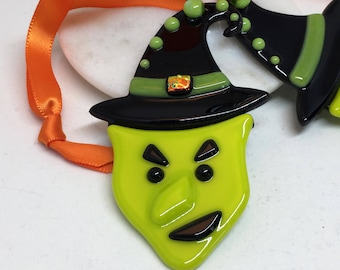 Witch Ornament – Green and Black Fused Glass