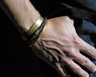 Wide Hammered Brass Cuff for Men and Women