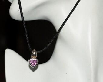 Ref: 121  Vintage pink Swarovski crystal designer TB silver heart clip on pendant.