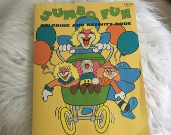 1986 jumbo fun coloring and activity coloring book clowns carnival