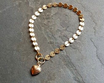 Simple Gold Chain Bracelet, Gold Filled Chain, Gold Disc Chain, 14K Gold Filled Heart, Heart Jewelry, Gift for Her, Heart Charm Bracelet
