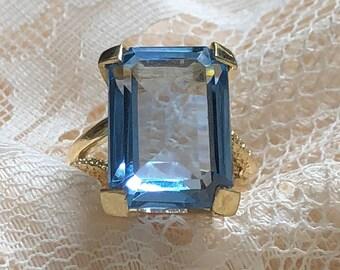 Estate Blue Topaz Ring Emerald Cut Solitaire 14K Italian Gold Wedding Anniversary Engagement Ring Vintage