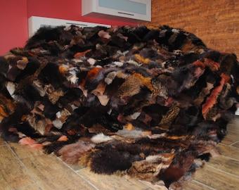 Real,Luxury  Genuine Blanket fur  FOX  200 x 220 cm , Bedspread/Throw Rug , Pelzdecke , Felldecke Tagesdecke Rot Fuchs